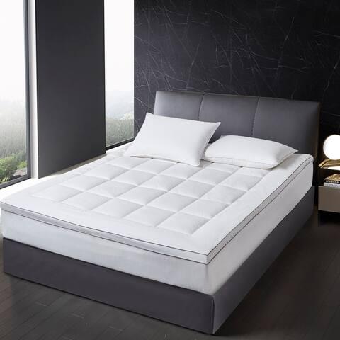 SCOTT LIVING 225 Thread Count Tencel Fiber Bed Mattress Pad Topper - White