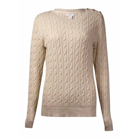 Charter Club Women's Button-Trim Metallic Crewneck Sweater