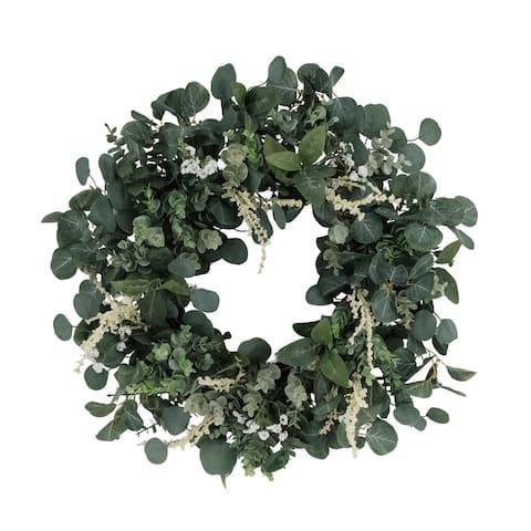 """24"""" Artificial Eucalyptus Floral Spring Wreath"""