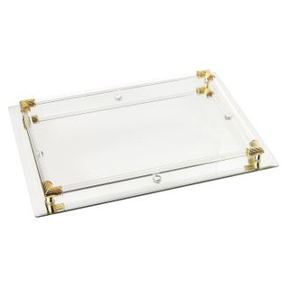 American Atelier Mirror Vanity Tray with Gold Corner Accents, 12 by 9 Inches