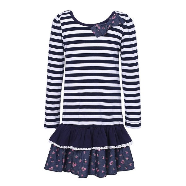 Richie House Baby Girls White Navy Striped Floral Print Dress 12M