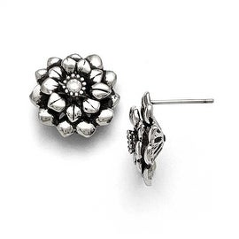 Chisel Stainless Steel Polished and Antiqued Flower CZ Post Earrings