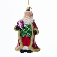 "Pack of 8 Vibrantly Colored Christmas Santa Claus with Gift Ornaments 5"" - RED"