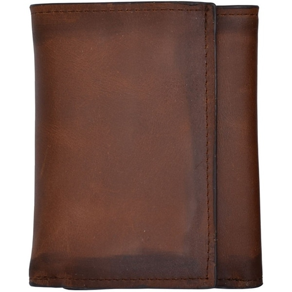 3D Western Wallet Mens Leather Trifold Burnished Brown - One size