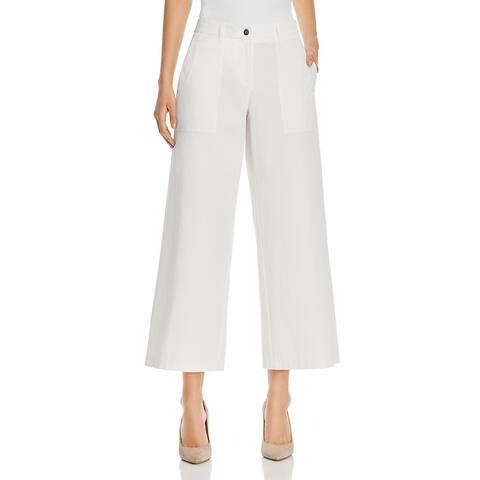 Lafayette 148 New York Womens Fulton Cropped Pants Wide Leg Cotton