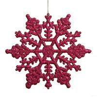 """Club Pack of 24 Mulberry Pink Glitter Snowflake Christmas Ornaments 4"""""""
