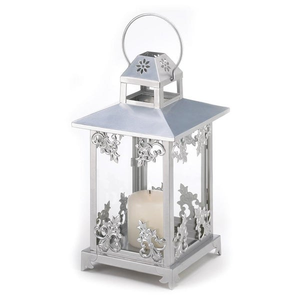Ancient Silver Scrollwork Candle Lantern