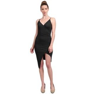NE PEOPLE Women's Casual Front Slit Surplice Cami Bandage Midi Dress