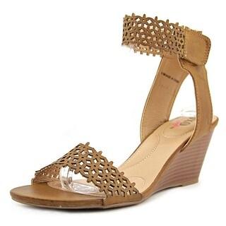 XOXO Sadler Women  Open Toe Synthetic Tan Wedge Heel