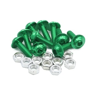 10pcs M6 Green Aluminum Alloy Hex Socket Head Motorcycle Bolts Screws Nuts