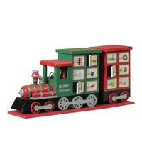 "16.5"" Red and Green Decorative Elegant Advent Calendar Locomotive"