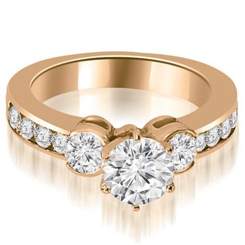 1.40 cttw. 14K Rose Gold Bezel Set Round Cut Diamond Engagement Ring