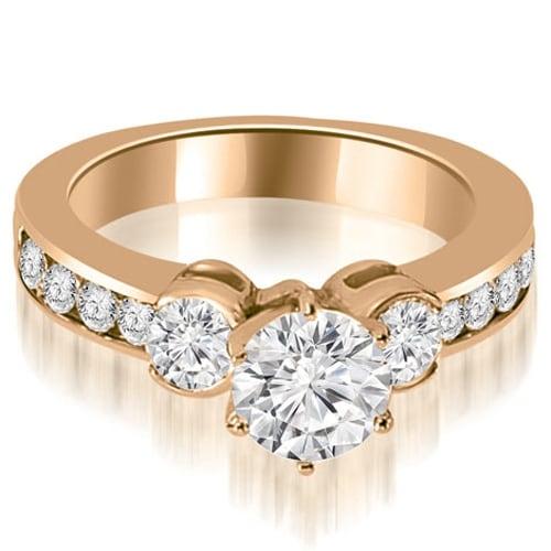 1.90 cttw. 14K Rose Gold Bezel Set Round Cut Diamond Engagement Ring