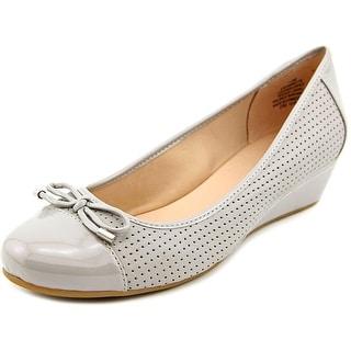 Easy Spirit Dawnette Women Open Toe Leather Gray Wedge Heel