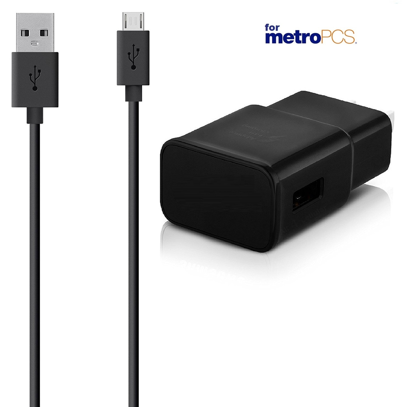 Dual-Port Adaptive Fast Car and Wall with (2) Micro USB Cables for Metro  PCS and Samsung Galaxy Phones - Black - White