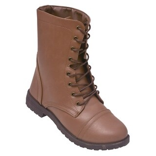 Weeboo Adult Taupe Lace-Up Closure Military Mid-Calf Combat Boots