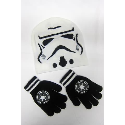 Star Wars Stormtrooper White Beanie Ski Skate Hipster Cap w/gloves Winter