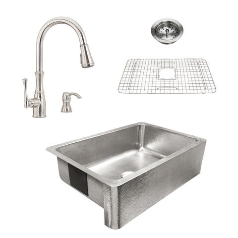 Percy Apron-Front Brushed Stainless Steel 32 in. Single Bowl Kitchen Sink with Pfister Wheaton Faucet All-in-One Kit
