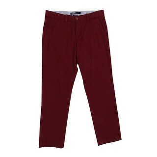 Tommy Hilfiger Men's Custom-Fit Mercer Dot-Pattern Pants (32x30, Red) - Red - 32x30