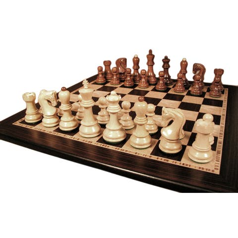 Sheesham Old Russian Chess Set With Ebony / Maple Board - Multicolored - 2 X 17.25 X 17.25 inches