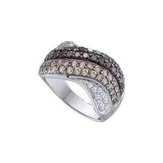14k White Gold Cognac-brown Black Colored Round Diamond Womens Cocktail Crossover Ring 1.75 Cttw - Brown