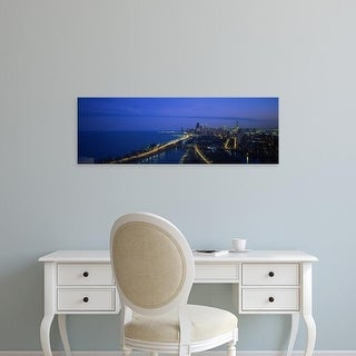 Easy Art Prints Panoramic Images's 'View of buildings lit up at dusk, Lake Michigan, Chicago, Illinois, USA' Canvas Art