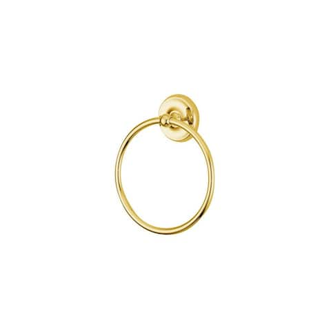 """Elements Of Design EBA314PB 6"""" Towel Ring from the Petosky Collection - Polished Brass (PVD)"""