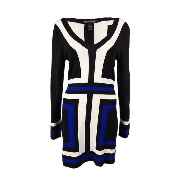 216e6a75fbb Shop INC International Concepts Women's V-Neck Tunic Dress - Black/White/Blue  - Free Shipping On Orders Over $45 - Overstock - 14726523