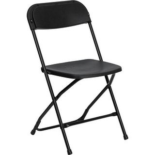 Rivera Heavy Duty Plastic Folding Chair, Black