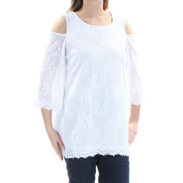 9fd74a37f82 Shop Womens White Floral Bell Sleeve Jewel Neck Wear To Work Top Size M -  Free Shipping On Orders Over $45 - Overstock.com - 21329319