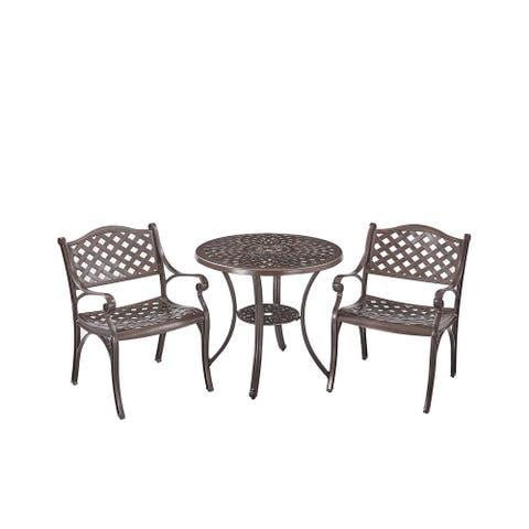 Upland Elizabeth Cast Aluminum Garden Furniture Chairs 3 Pcs Set -Bronze - N/A