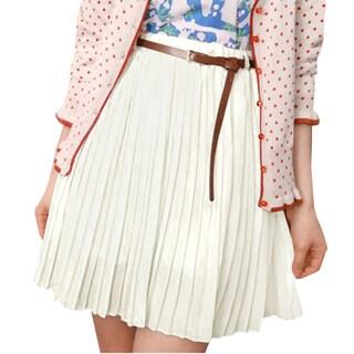 Allegra K Women High Waist Fully Lined Pleated Skirt w Belt