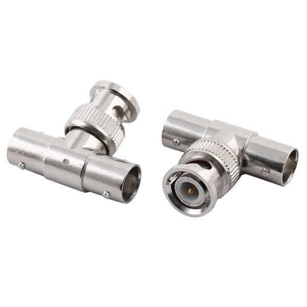 Metal 3 Way BNC Male to Dual Female Coaxial Cable Connector 32x27x13mm 2pcs