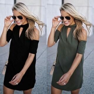 Summer Women's Halter Off Shoulder Solid Dress