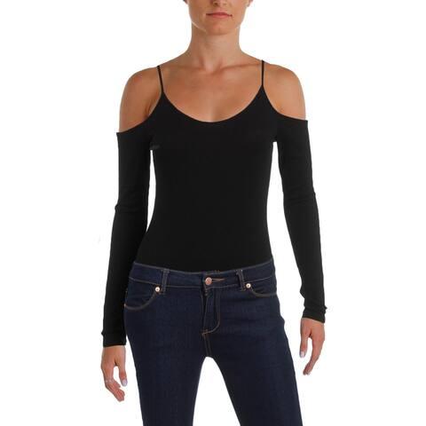 Aqua Womens Bodysuit Ribbed Knit Cold Shoulder