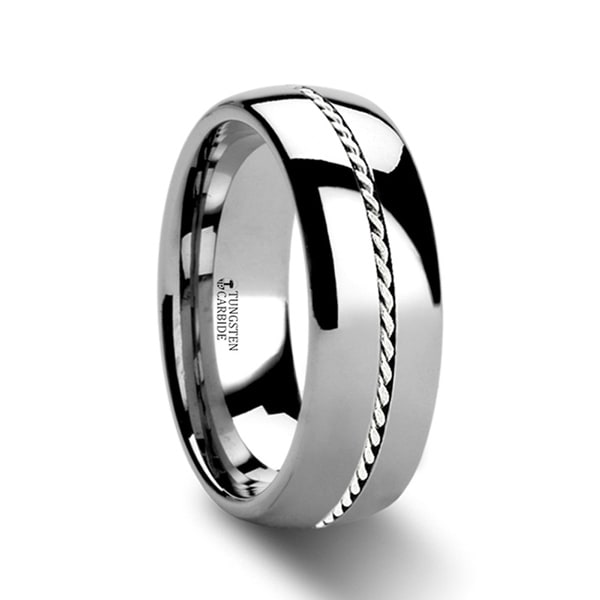 Phytheon Braided Platinum Inlay Domed Tungsten Ring