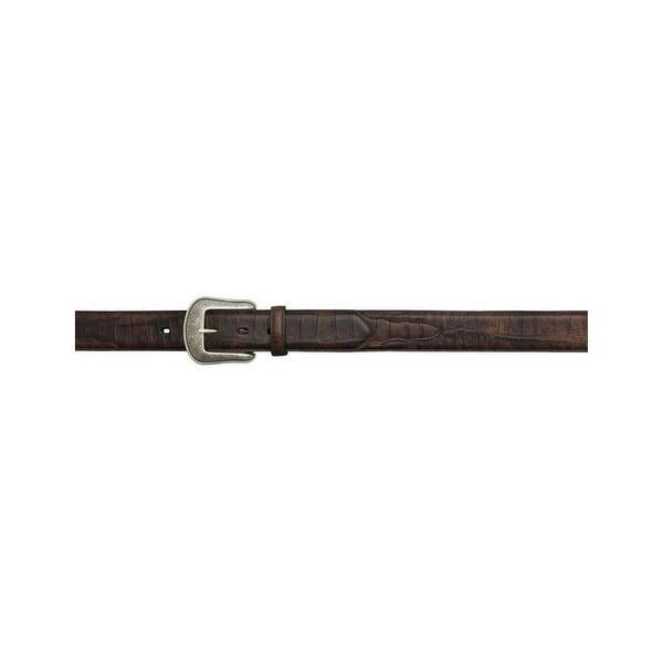 3D Belt Western Belt Mens Leather Overlay Gator Print Brown
