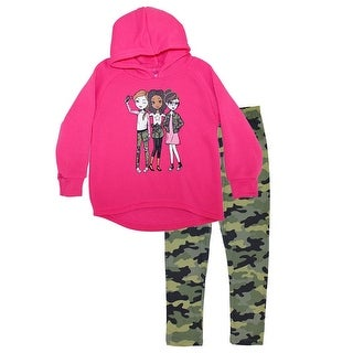 Little Girls Fuchsia Friends Print Hooded Top Camouflage 2 Pc Pant Outfit