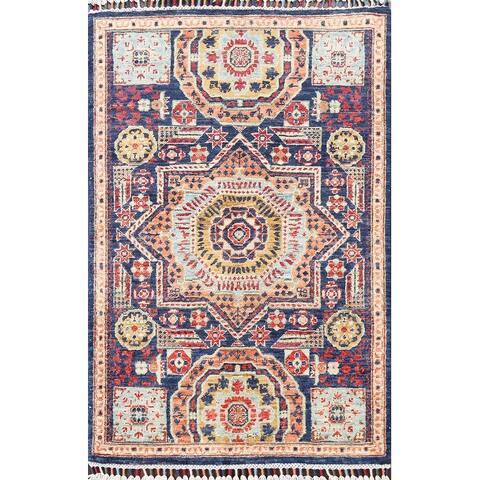 "Geometric Kazak Oriental Traditional Area Rug Hand-knotted Wool Carpet - 2'8"" x 4'0"""