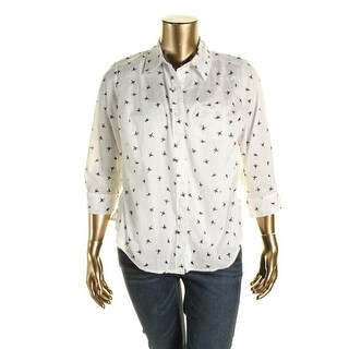 Karen Scott Womens Plus Cotton Printed Button-Down Top - 1X