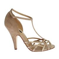 Dolce & Gabbana Beige Suede Crystal Mary Janes Heels Shoes - 39