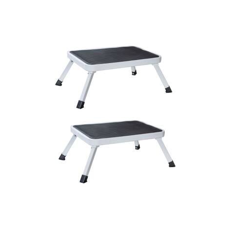Offex Steel 1-Step Folding Platform Stool with Carry Handle, 2 Piece Set - White