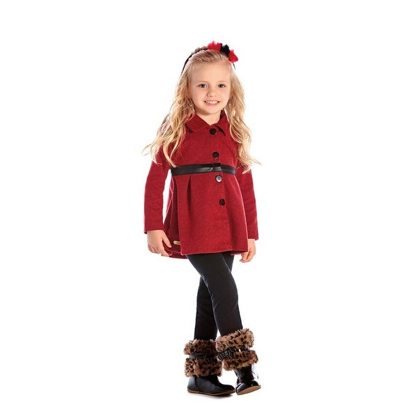 Toddler Girl Outfit Pea Coat and Leggings Winter Set Pulla Bulla 1-3 Years