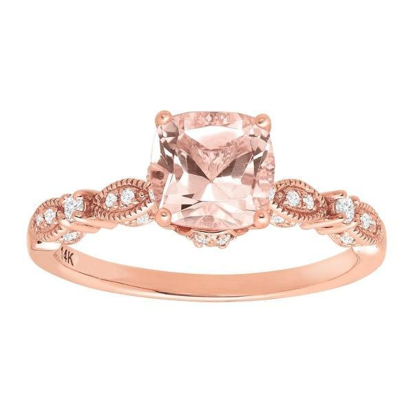 1 1/2 ct Natural Morganite & 1/5 ct Diamond Ring in 14K Rose Gold - Pink