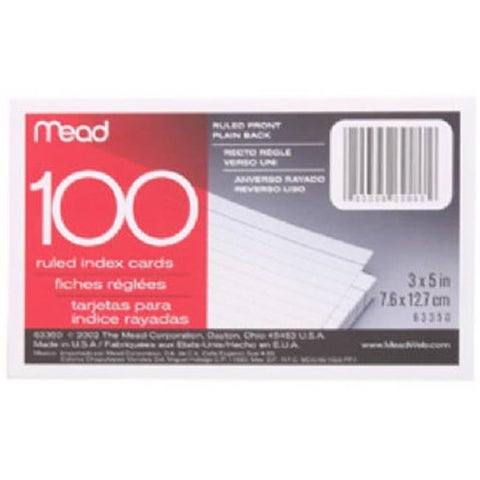 Mead 63350 3 x 5 in. Ruled Index Cards, 100 Count, Pack of 12