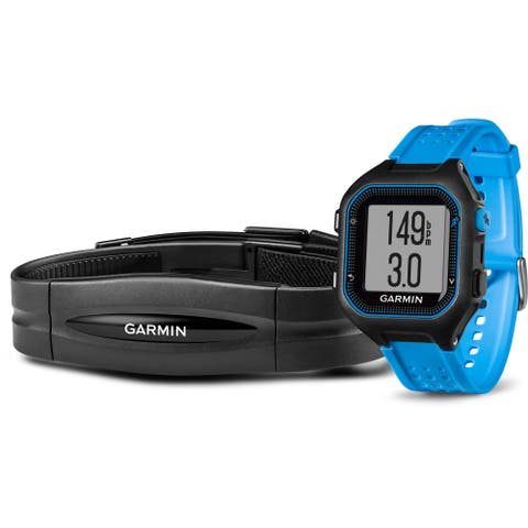 Garmin Forerunner 25 GPS Running Watch with Heart Rate Monitor (Large, Black/Blue)