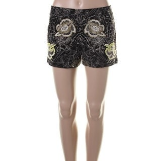 French Connection Womens Juniors Brocade Wide Band Casual Shorts - 10