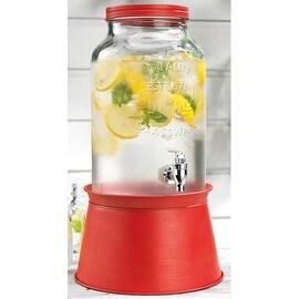 Palais Glassware High Quality Mason Jar Beverage Dispenser - Traditional Tin Screw Off Lid - 1.5 Gallon Capacity