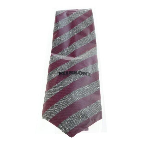 Missoni U5123 Rose//Taupe Regimental 100/% Silk Tie for Mens