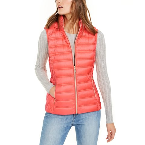 Michael Kors Womens Coral Peach Down Puffer Hooded Vest Jacket